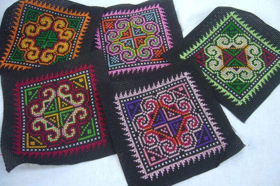 Thai Hmong handmade patches  cross stitch  by ThaiTextileShop, $10.99