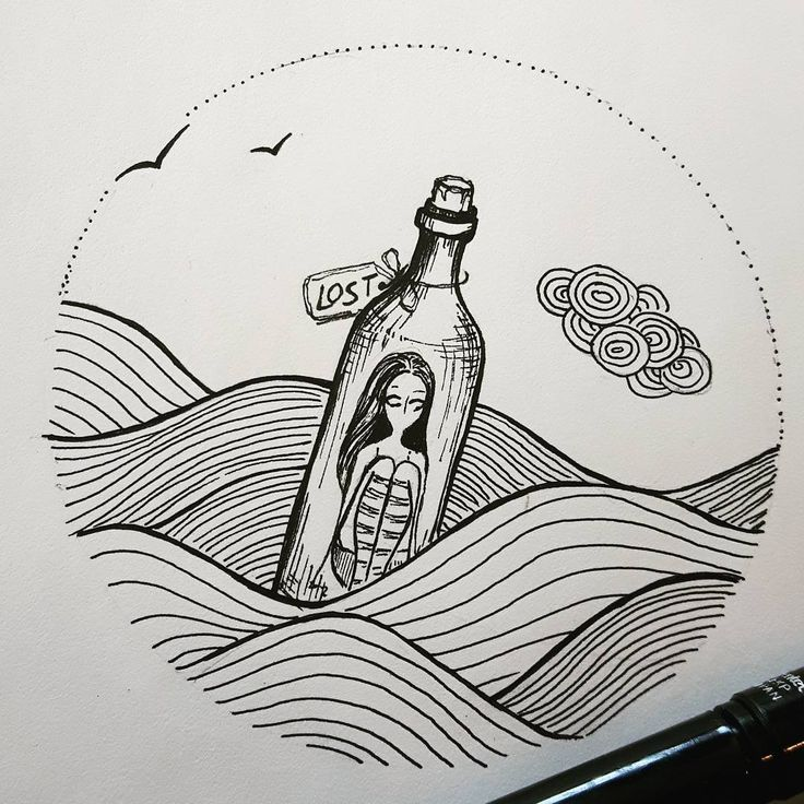 """@scarlet_alterego on Instagram: """"#inktober2016 day 7 prompt: LOST Not how how I imagined I'd feel at this age, but oh well #Inktober    #illustration #sketch #scarlet_alterego #ofredandothercolors #drawing #comic #cartoon #ink #lost #bottle"""