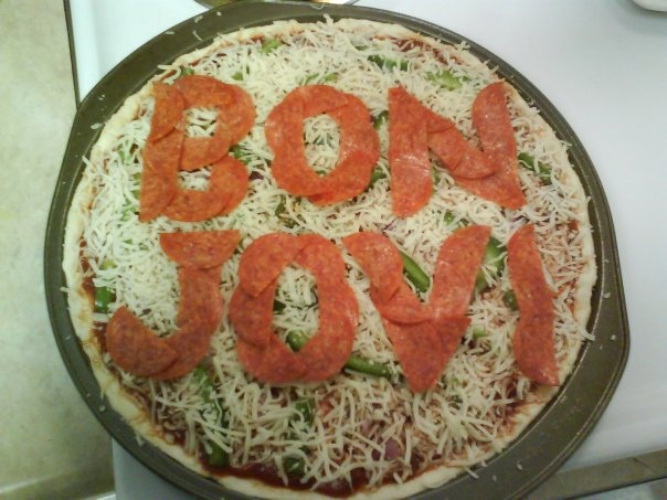 Bon Jovi Pizza: pepperoni, green pepper, red onion; (What happens when you enjoy both Bon Jovi and cooking)