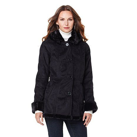 Sporto® Faux Shearling Jacket with Removable Hood