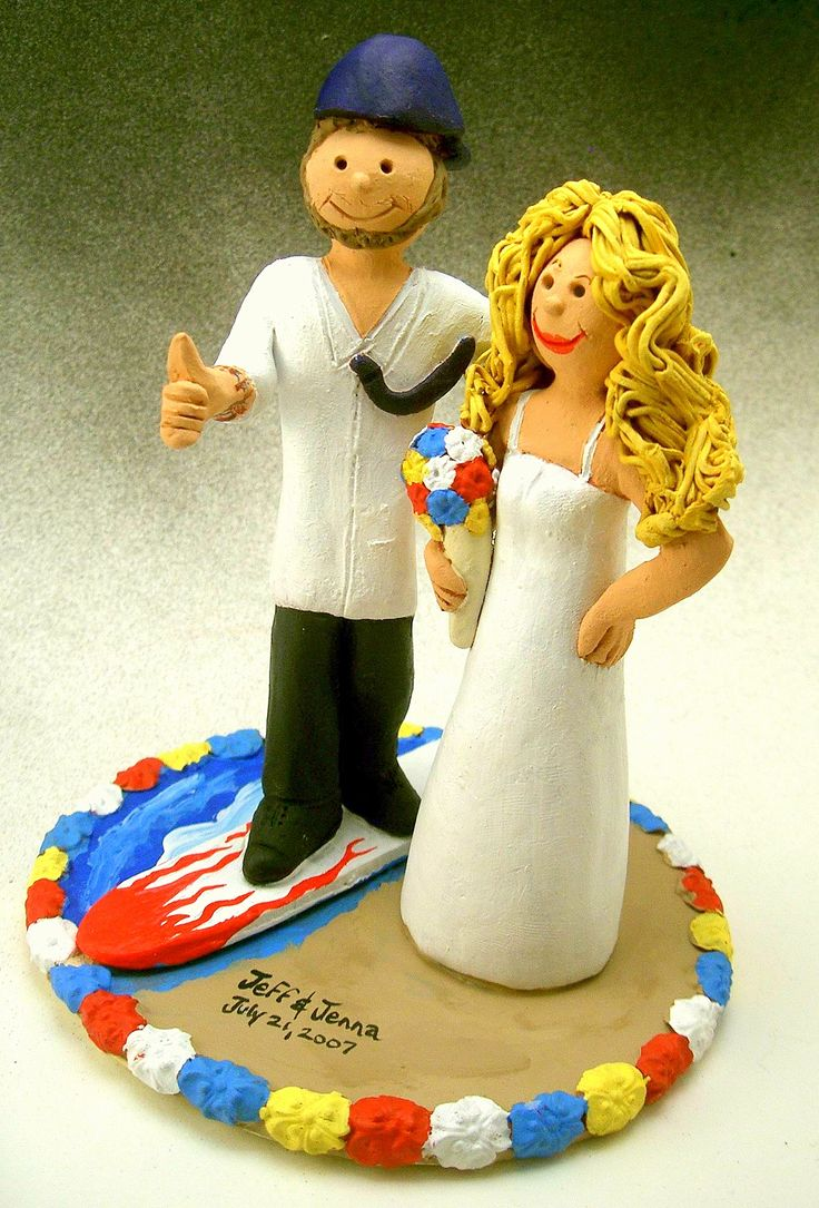 Beach Destination Wedding Cake Topper http://www.magicmud.com   1 800 231 9814  magicmud@magicmud.com  http://blog.magicmud.com  https://twitter.com/caketoppers         https://www.facebook.com/PersonalizedWeddingCakeToppers $235  #destination-wedding#beach-wedding #surfer#surfing#surf#ocean#wave#beach#longboard#catch-a-wave#waveRider