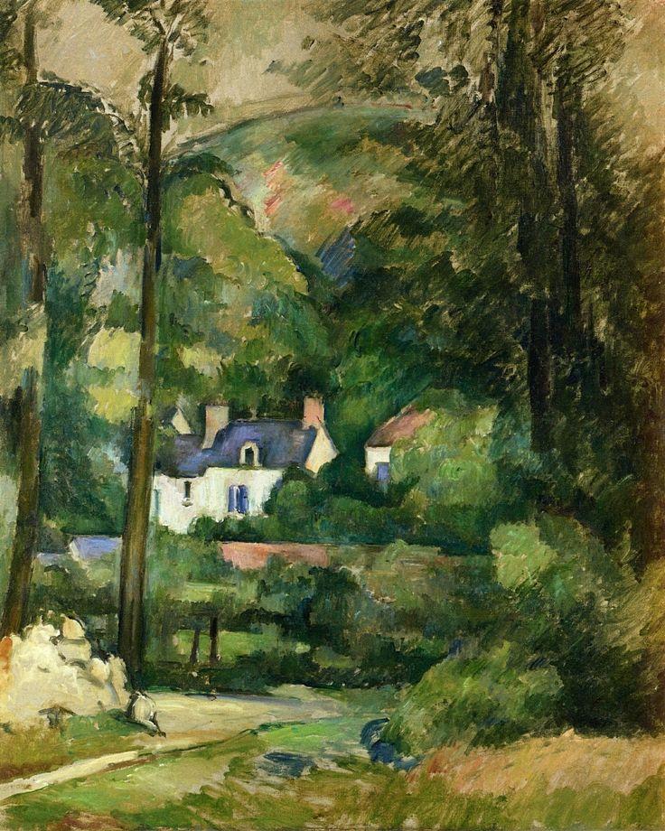 """""""casas en la vegetación"""" -- 1881 -- Paul Cezanne -- Francés -- Óleo sobre lienzo -- colección privada"""