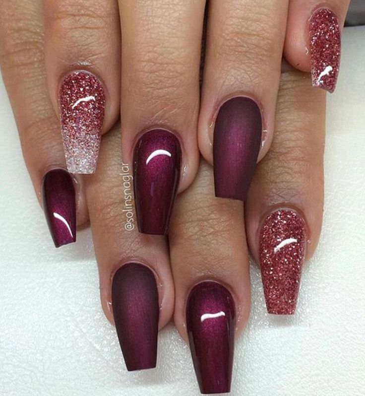 Love the combination of shape, colour and texture. Coffin nails with shades  of purple, glitter and Matt. - Best 25+ Red Nail Designs Ideas On Pinterest Red Nails