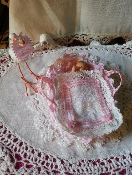 Cradle  baby  dollhouse   scale 1:12 by LaboratoriodiManu on Etsy