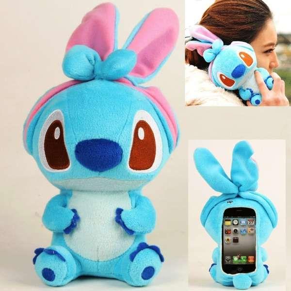 So cute! I wanna carry around a little stuffed animal for a phone :)