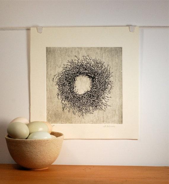 Twig Wreath Etching Fine Art Print $95.00 @thepolkadotmagpie #etsy
