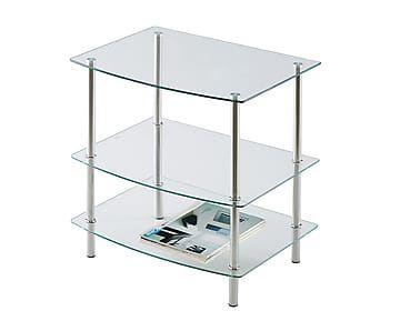 Mesa de tv con 3 estantes de cristal y metal - Mesitas auxiliares de cristal ...