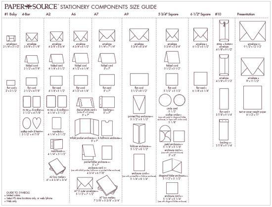 Wedding Invitation Sizes: Stationery Paper Size Chart