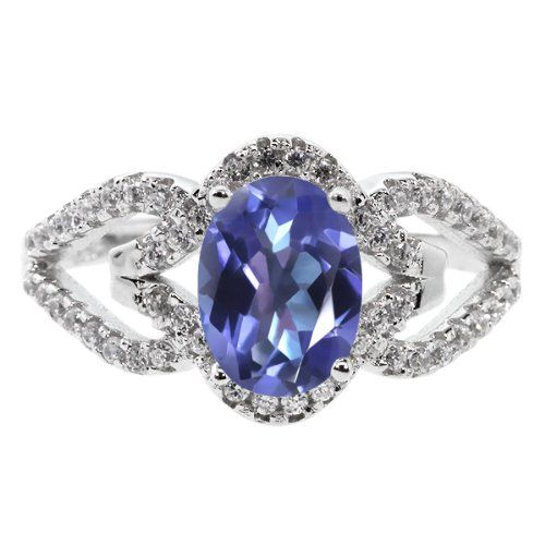 1.62 Ct Oval Tanzanite Blue Mystic Topaz 925 Sterling Silver Ring: