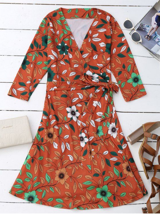 Leaf Flower Print Slit Wrap Dress - ORANGE RED M