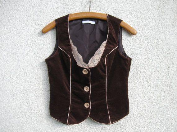 Brown Velveteen Vest Folk Style Tyrol Dirndl Austrian Womens Formal Vest Lace Fitted Waistcoat Medium Size Label Size: M Measurements (lying