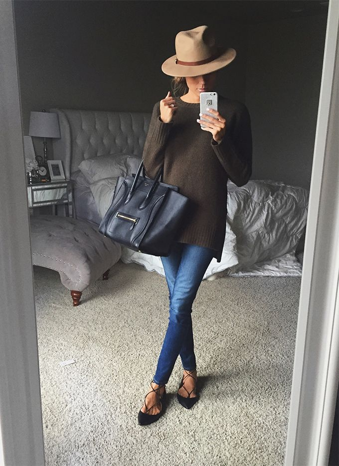 OLIVE GREEN SWEATER(UNDER A $25 - AS SEEN IN VIDEO BELOW)| LACE UP FLATS | HAT(AS SEEN IN VIDEO BELOW) | DENIM| CELINE HANDBAG Guys I am sooooo excited to tell you I am finally starting a youtu...