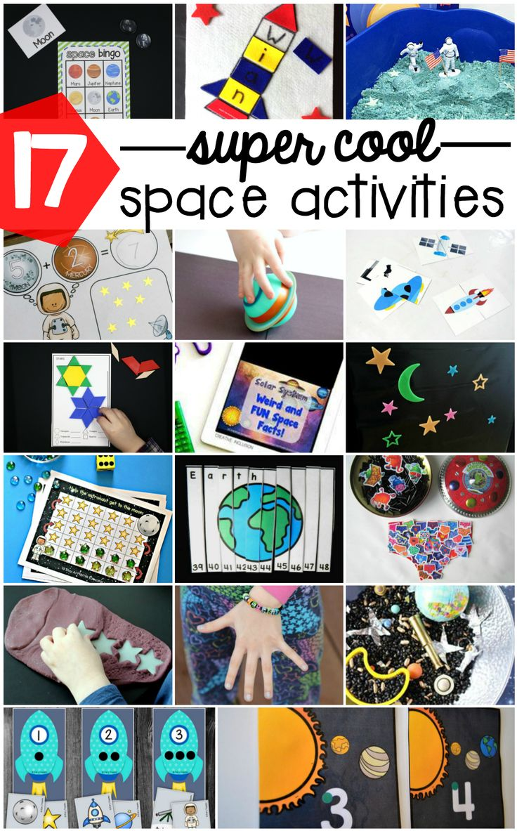 Awesome space activities for kids! Math games, sensory bins, Bingo, name activities... tons and tons of fun outer space ideas for preschool, kindergarten and first grade!