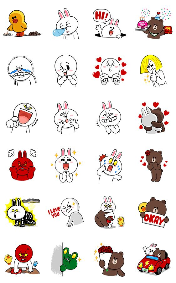 Line Drawing Emoji : 画像 line characters all the love by me