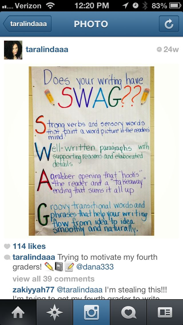 Does your writing have SWAG?  Borrowed from Instagram ... Not sure if it is hers or borrowed  6th grade English #ela #6thgrade #writingtips