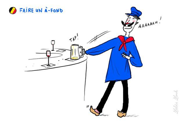 Boire son verre d'un seul trait  Action de vider (son verre, souvent de bière) d'un seul trait. Faire six à-fonds d'affilée.  Synonyme : cul blanc.  Ce lexème a donné le verbe transitif à-foner (ou affoner) : vider son verre d'un seul trait.    Synonyme : Tûter.  Équivalent en français de référence : (faire) cul sec, également en usage en Belgique francophone.