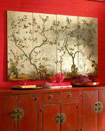 Reds Take Command In This Asian Inspired Room The Traditional Looking Cabinet Takes It One Step Further To Create A Space That Truly Reflects