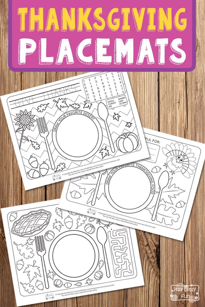 Free Printable Thanksgiving Day Placemats for Kids to Play With. Fun Thanksgiving printable activity for kids.