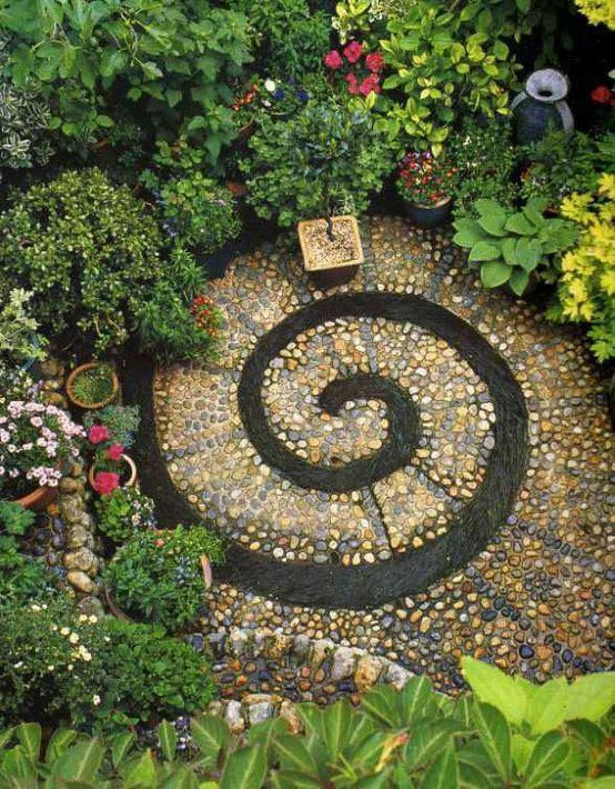 Eclectic Landscape/Yard with Pathway, DIY Spiral Rock Pebble Mosaic Path, Dawns Early Light Hosta, Gold Standard Hosta