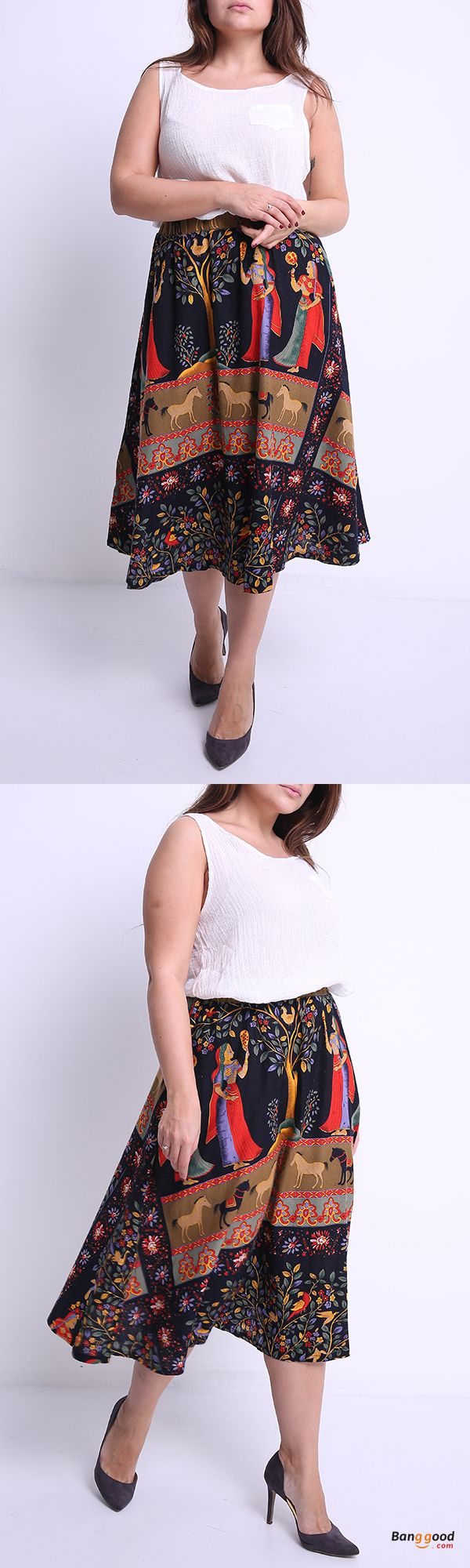 US$22.78 + Free shipping. Size: M~5XL. Fall in love with fashion and casual style! O-NEWE M-5XL Casual Women Ethnic Style Print Skirt.