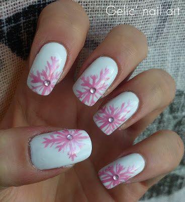 Gelic' nail art: Pink snow flake nail art