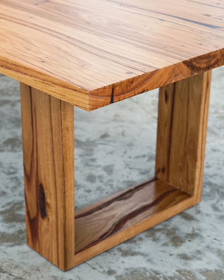 """Table features the classic and popular """"tapered"""" hoop leg design. Made from Windsor Smithfactory Yellow Stringybark. Price from $2200."""