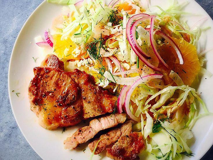 Pork+Neck+Steaks+with+Fennel+&+Orange+Salad