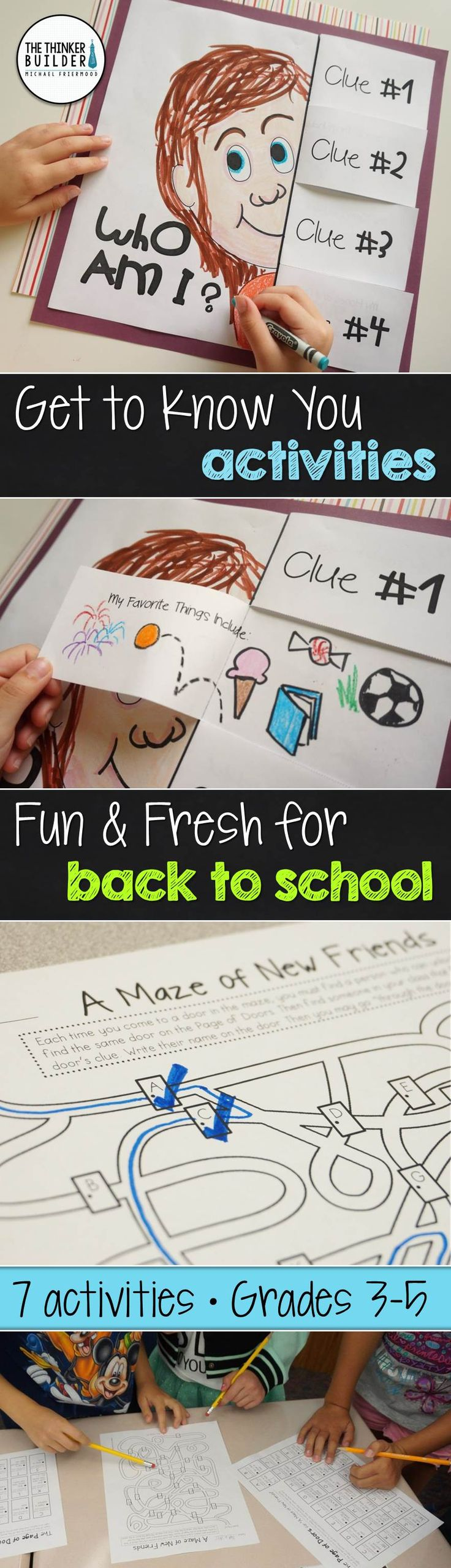 "7 fun and fresh get-to-know-you activities for the beginning of the year, including a ""Who Am I?"" poster with flip-flap clues, ""A Maze of New Friends"" activity, and more! Perfect for back-to-school! Gr. 3-5 ($). Click the image for details, or see the bundle of BOTH my Get-to-Know-You activity packs here: https://www.teacherspayteachers.com/Product/BUNDLE-Back-to-School-Get-To-Know-You-Activities-Fun-Fresh-2-Packs-1984515"