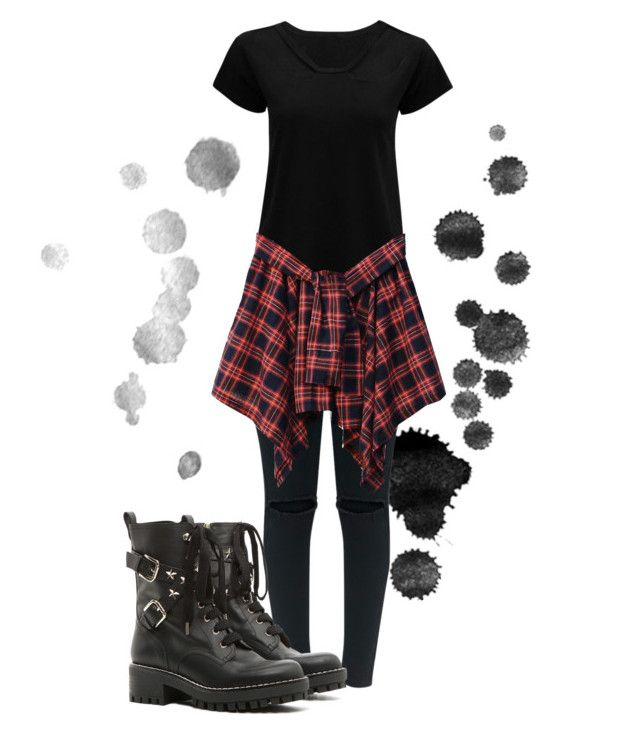 """""""Crowder"""" by danickaroetz on Polyvore featuring RED Valentino, black, Boots and flannel"""