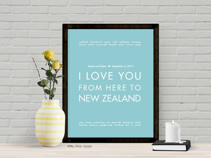I Love You From Here To NEW ZEALAND personalized wedding art print