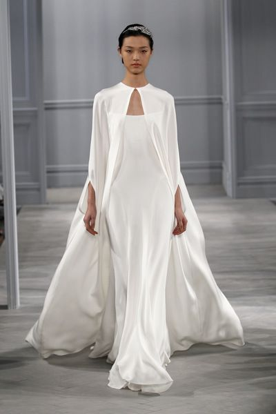MONIQUE LHUILLIER Tatiana Gown - Silk white 4 ply silk crepe illusion necklineseamed sheath