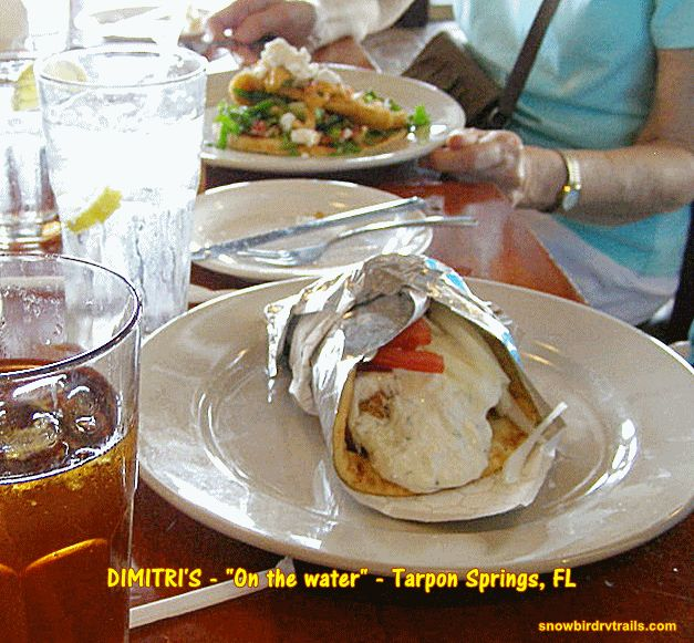 A Chicken Souvlaki Sandwich At Dimitriu0027s Greek Restaurant On The Waterfront  In Tarpon Springs, Florida