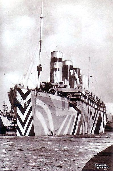 Titanic sister ship the Olympic adorned in dazzle paint - a form of naval camouflage widely used during World War One