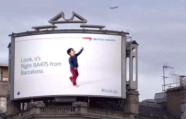 British Airways' digital billboard identifies planes as they pass overhead. Dynamic marketing at it's best!