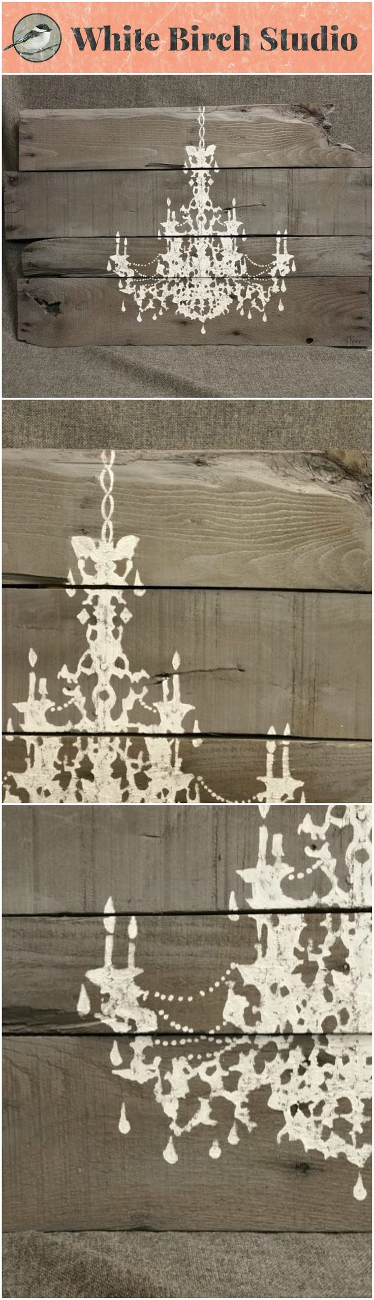 Gray Pallet Wall Art Chandelier, Reclaimed Distressed, hand painted, barnwood, Baby Girl Nursery, shabby chic  This large, unique piece is 33 in.wide x 21 in tall. It is hand painted (not stenciled) in a free-form, shadow appearance. It has been stained with a water-based gray stain.  It would be a unique, personal touch to any room in our home. It also would be a great shabby-chic accent to your little girl's bedroom or nursery.