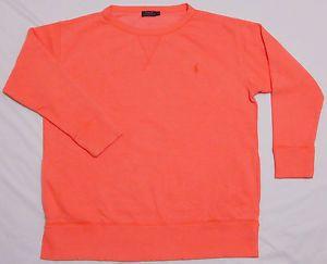 Details about Mens POLO RALPH LAUREN Sweatshirt LARGE Neon Orange CREWNECK Pockets SOFT Bright
