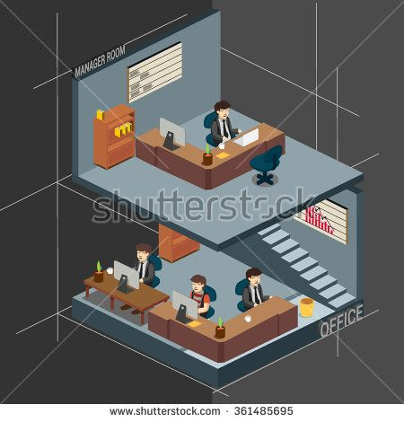 3D Isometric office, managers room. detailed vector illustration. - stock vector