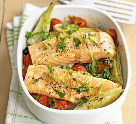 Baked salmon with fennel & tomatoes recipe - Recipes - BBC Good Food