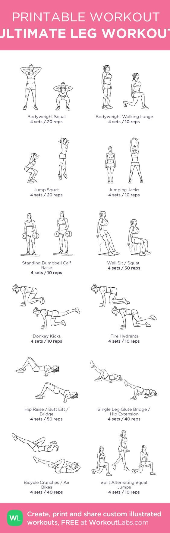 ULTIMATE LEG WORKOUT: my custom printable workout by @WorkoutLabs #workoutlabs #customworkout: