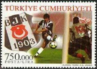 2003 Pul: Gambling Scene, Club Logo (Türkiye) (100 years of Besiktas Gymnastic Club, Istanbul) Mi:TR 3331