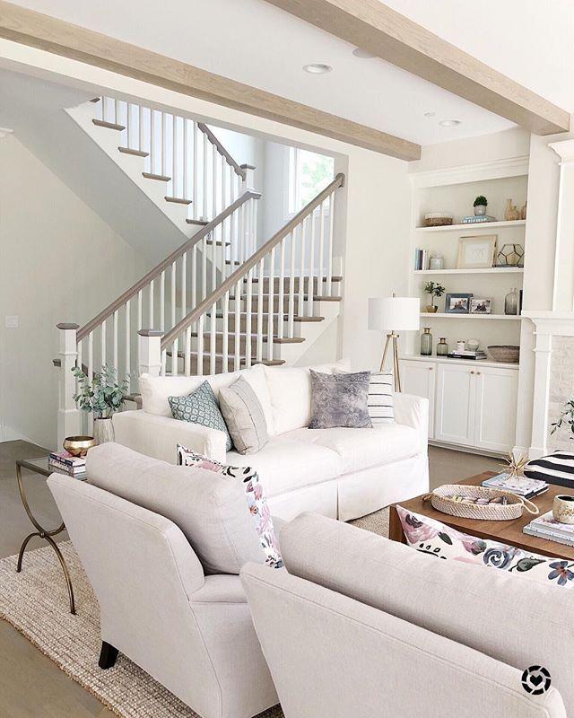 Lifeoncedarlane Open Staircase Light Wood Floors White Slipcover Sofa Shelf Sty Open Concept Living Room Farm House Living Room Farmhouse Decor Living Room #open #stairs #in #living #room