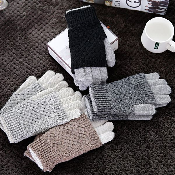 Womens Ladies Winter Warm Knitted Thickening Touch Screen Cute Gloves Cycling Full-finger Gloves online - NewChic