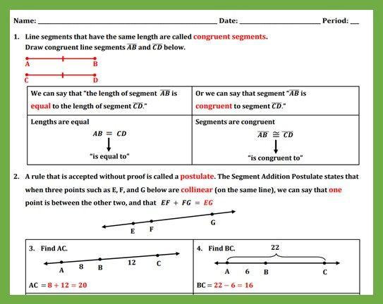 Free Segment Addition Postulate Teaching The Lesson Segmentation Teaching Lesson
