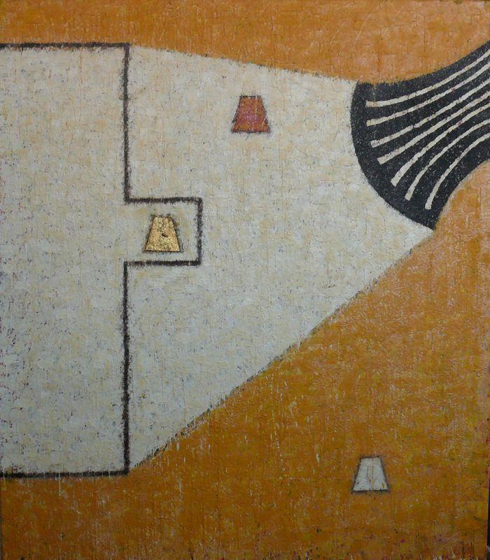 Mulasics László: Váratlan fordulat / Unexpected revulsion, 1988, 140 x 160 cm, enkausztika, vászon / encaustic on canvas