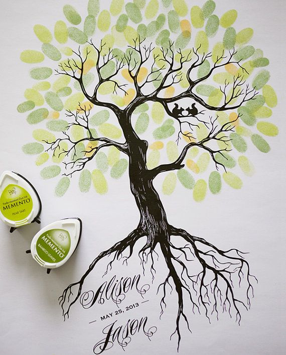 Rustic Wedding Thumbprint Tree Guest Book by ThreeEggsDesign, $29.00. Cool idea for baby shower or fundraiser to show the support that was given by so many