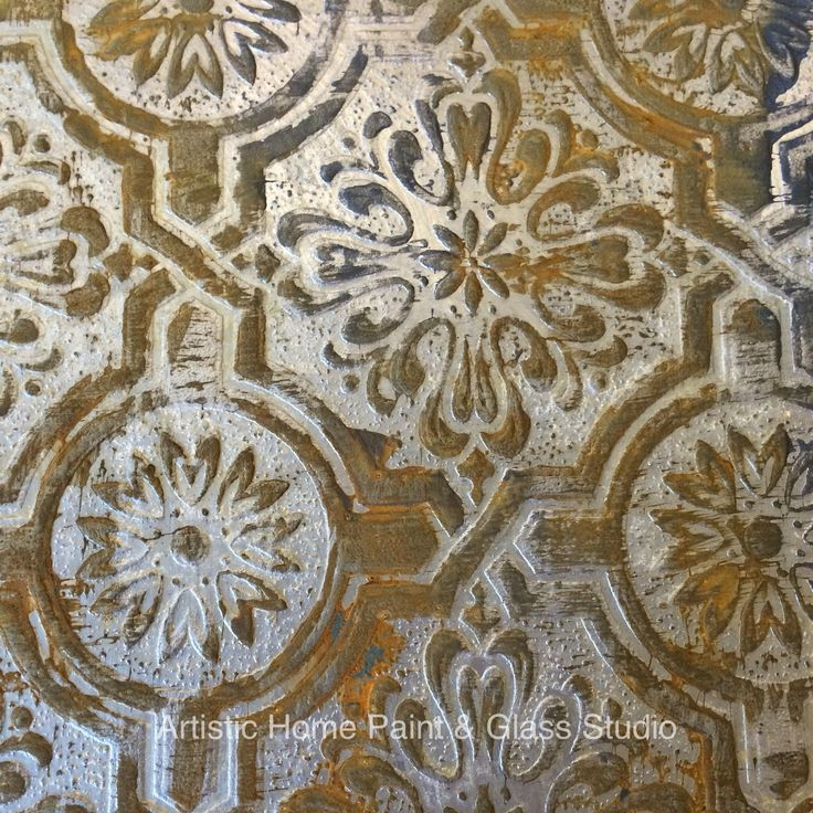 Faux Rustic Tin Tile Created With Textured Paintable