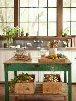 Would be cute to have lined crates that could be placed into a shelving unit in the cabinets, but pulled out with handles and taken to the garden to pull potatos, and placed under a kitchen cart in the center of the kitchen.