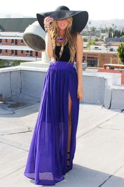 Blue Maxi Skirt, Black Tank, Black Floppy Hat, & Accessories.