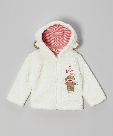 Take a look at this White Monkey Sherpa Jacket - Infant by Sock Monkey on #zulily today!