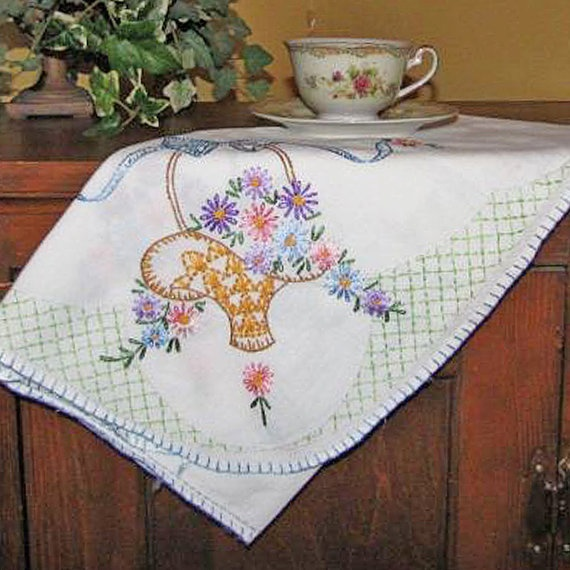 Vintage Hand Embroidered Table Cloth with Basket by treasures4ewe,